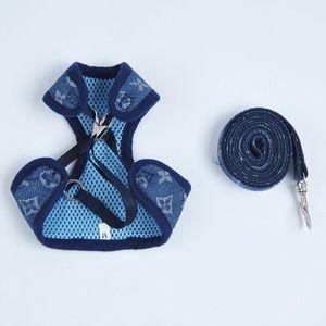(XS) Blue Denim Pawvouitton Pet Harness